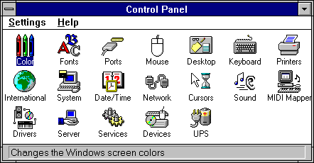 Settings menu in Windows NT 3.1 Workstation (Control Panel)