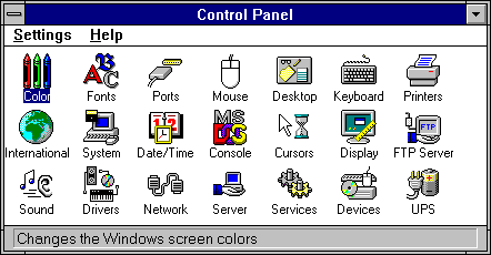Settings menu in Windows NT 3.51 Workstation (Control Panel)