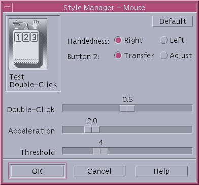 Mouse in CDE 1.5 in Solaris 9 (Style Manager – Mouse)
