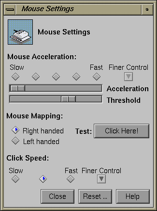 Mouse in IRIX 5.3 (Mouse Settings)