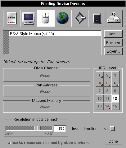 Mouse in OPENSTEP 4.2 (Pointing Device Devices)