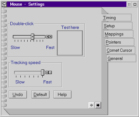 Mouse in OS/2 Warp 3 (Mouse – Settings)