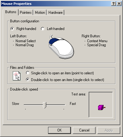 Mouse in Windows 2000 Pro (Mouse Properties)
