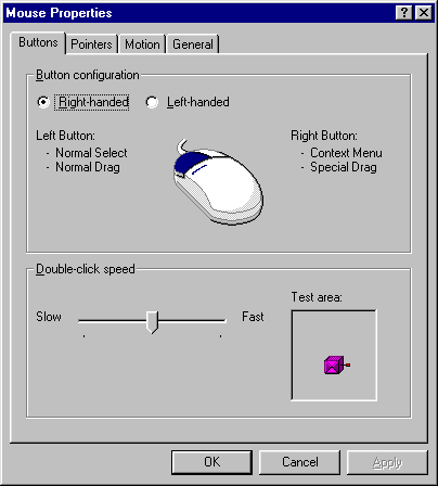 Mouse in Windows 95B (Mouse Properties)