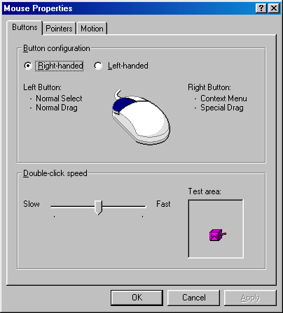 Mouse in Windows 98 (Mouse Properties)