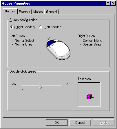 Mouse in Windows NT 4.0 Workstation (Mouse Properties)
