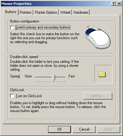 Mouse in Windows Server 2003 Web (Mouse Properties)