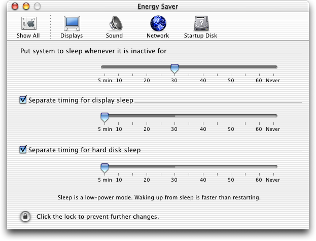 Power management in Mac OS 10.0.4 (Energy Saver)