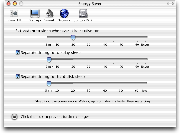 Power management in Mac OS 10.1 (Energy Saver)