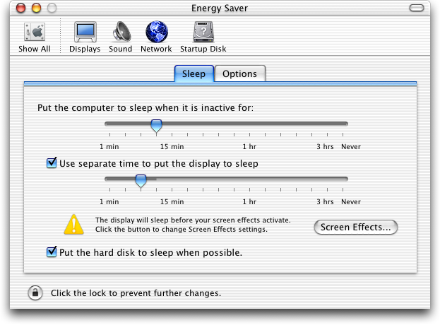 Power management in Mac OS X Jaguar (Energy Saver)