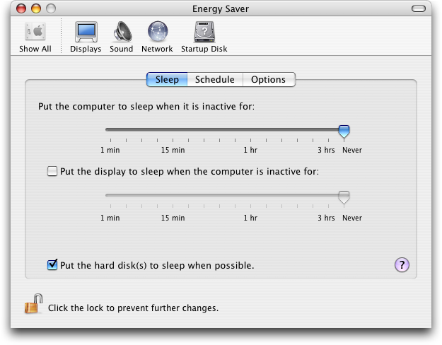 Power management in Mac OS X Panther (Energy Saver)