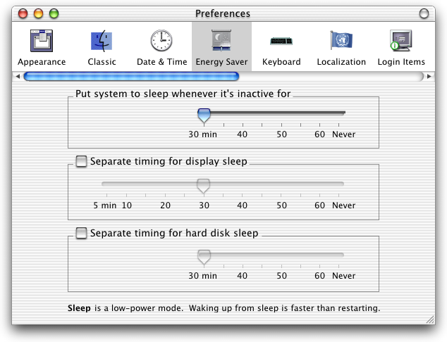Power management in Mac OS X DP 3 (Energy Saver)