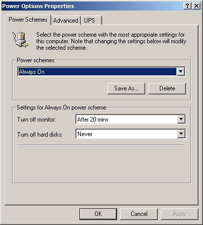 Power management in Windows 2000 Advanced Server (Power Options Properties)