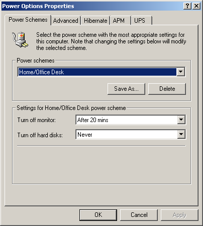 Power management in Windows 2000 Pro (Power Options Properties)
