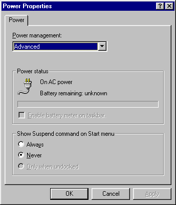 Power management in Windows 95 (Power Properties)