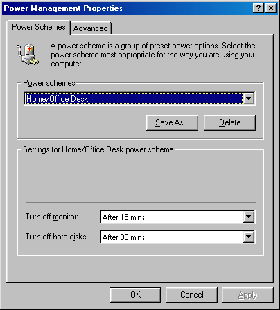 Power management in Windows 98 (Power Management Properties)