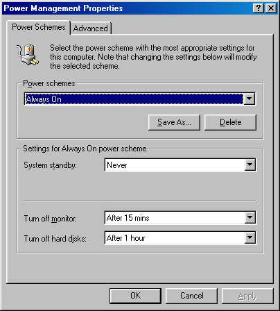 Power management in Windows 98 SE (Power Management Properties)