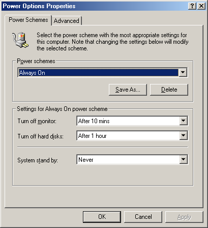 Power management in Windows Me (Power Options Properties)