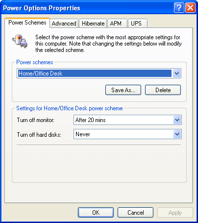 Power management in Windows XP Pro (Power Options Properties)