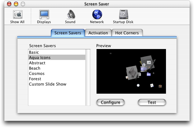 Screensaver in Mac OS 10.0.4 (Screen Saver)