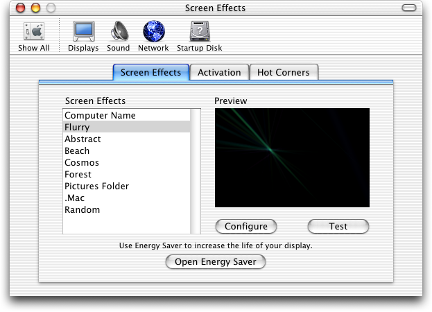 Screensaver in Mac OS X Jaguar (Screen Effects)