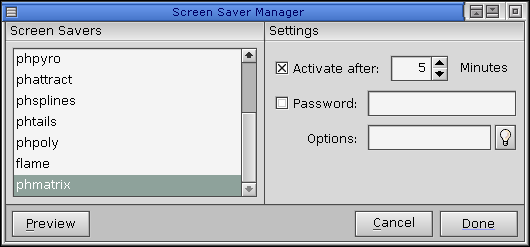 Screensaver in QNX 6.2.1 NC (Screen Saver Manager)