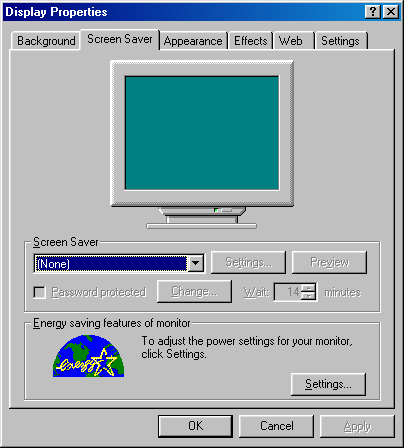 Screensaver in Windows 98 (Display Properties)