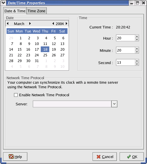 Time and date in GNOME 2.2.0 in RedHat 9 (Date/Time Properties)