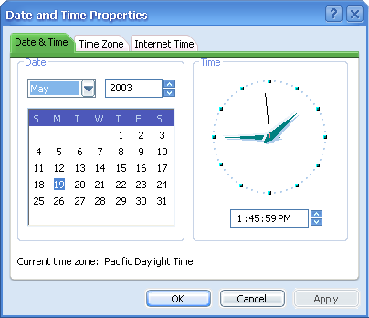 Time and date in Longhorn 4015 (Date and Time Properties)