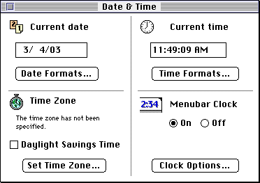 Time and date in System 7.5.3 (Date & Time)
