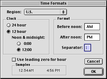 Time and date in Mac OS 9.0 (Time Formats)