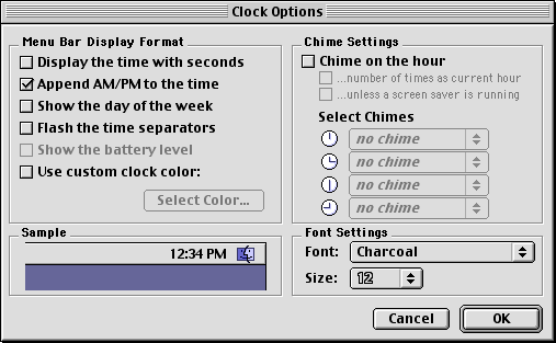 Time and date in Mac OS 9.0 (Clock Options)