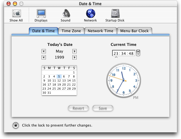 Time and date in Mac OS 10.0.4 (Date & Time)