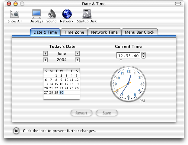 Time and date in Mac OS 10.1 (Date & Time)