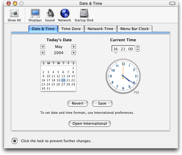 Time and date in Mac OS X Jaguar (Date & Time)