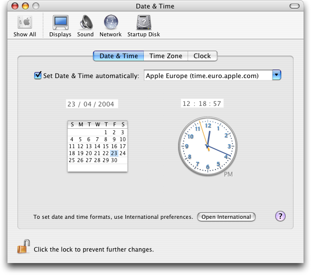 Time and date in Mac OS X Panther (Date & Time)