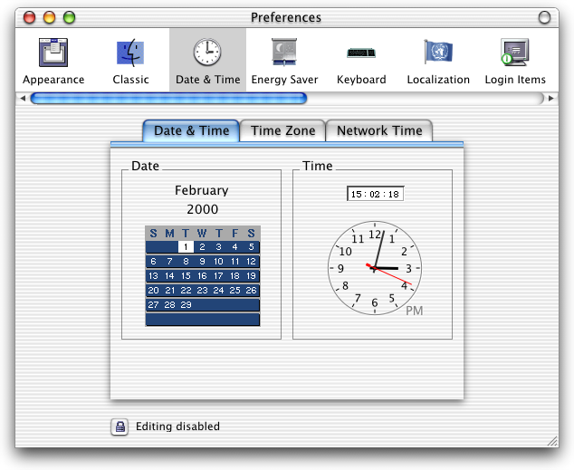 Time and date in Mac OS X DP 3 (Date & Time)