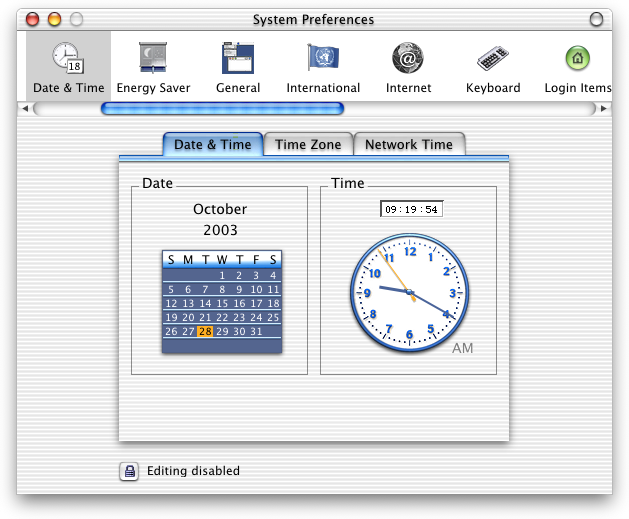 Time and date in Mac OS X DP 4 (Date & Time)