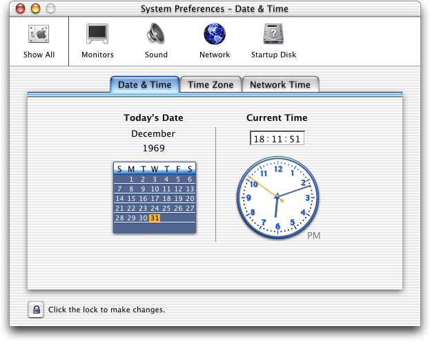 Time and date in Mac OS X Public Beta (Date & Time)