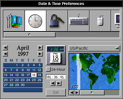 Time and date in OPENSTEP 4.2 (Date & Time Preferences)