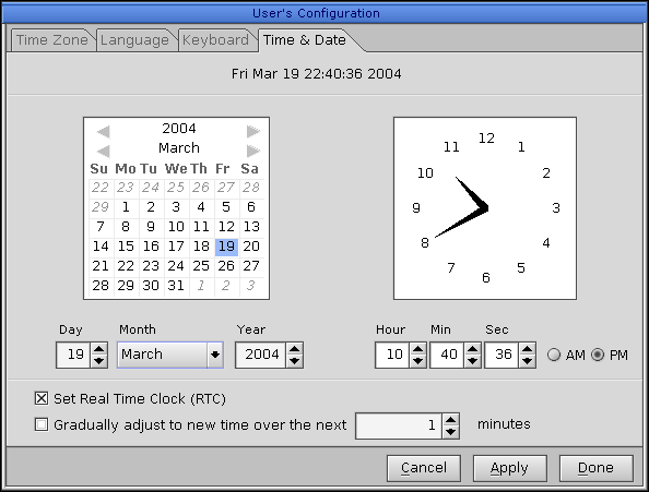Time and date in QNX 6.2.1 NC (User's Configuration: Time & Date)