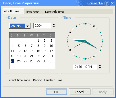 Time and date in Whistler 2257 (Date/Time Properties)