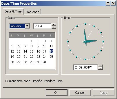 Time and date in Windows 2000 Pro (Date/Time Properties)