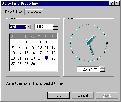 Time and date in Windows 95 (Date/Time Properties)