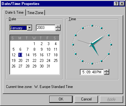 Time and date in Windows 95B (Date/Time Properties)