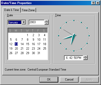 Time and date in Windows 98 (Date/Time Properties)