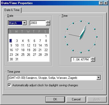 Time and date in Windows 98 SE (Date/Time Properties)