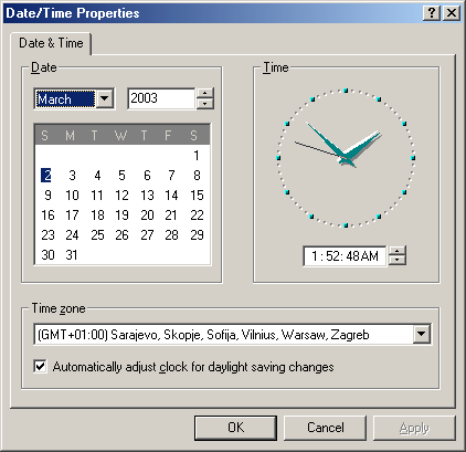Time and date in Windows Me (Date/Time Properties)