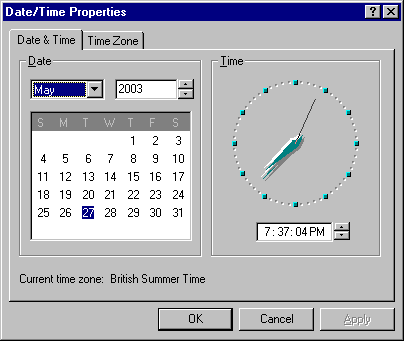 Time and date in Windows NT 4.0 Workstation (Date/Time Properties)