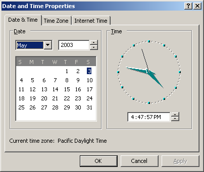 Time and date in Windows Server 2003 Web (Date and Time Properties)